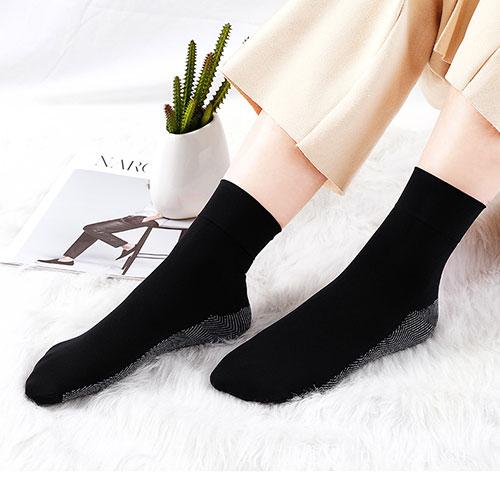 浪莎黑色棉底袜 吸汗排湿 防滑耐穿
